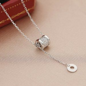 *NEW 925 Sterling Silver Diamond Drop Necklace